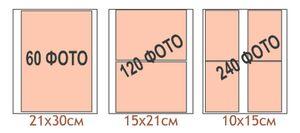 Количество и схематическое расположение фотографий разного размера в магнитных альбомах на 30 листов 28х31см