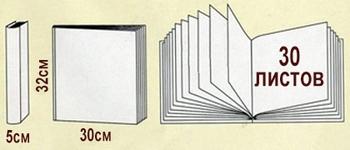 Размеры и схема магнитных альбомов на 30 листов 28х31см серии Deluxe