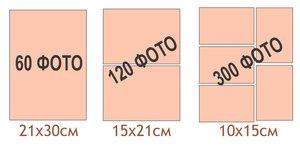 Количество и схематическое расположение фотографий разного размера в магнитных альбомах на 30 листов