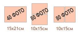 Количество и схематическое расположение фотографий разного размера в магнитных альбомах на 20 небольших листов