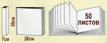 Размеры и схема магнитных альбомов на 50 листов с переплетом на металлических кольцах